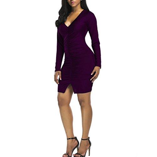 Mujer Vestidos Larga Pliegues Otoño Manga Purple Moda Mini Vestir V Delgado Cuello rHwqrIx