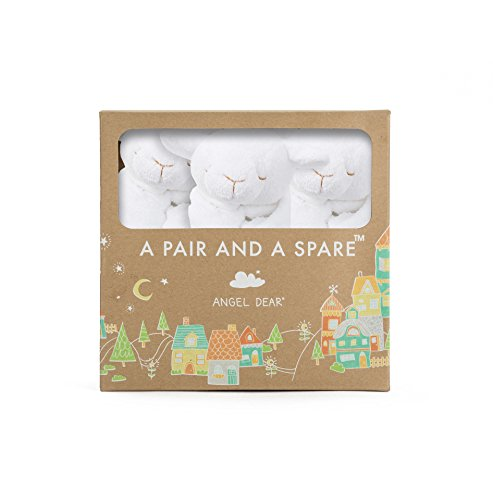Angel Dear Pair and a Spare 3 Piece Blanket Set, White Lamb