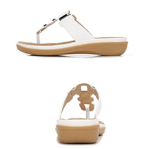 Femmes Size White 40 Flip T love Toe Round EU Sandales White Bohême beauty Pantoufles Wedge Angel Sparkling Summer Flops Beach Plate Strap Perle Color Forme qOEwR1FBn