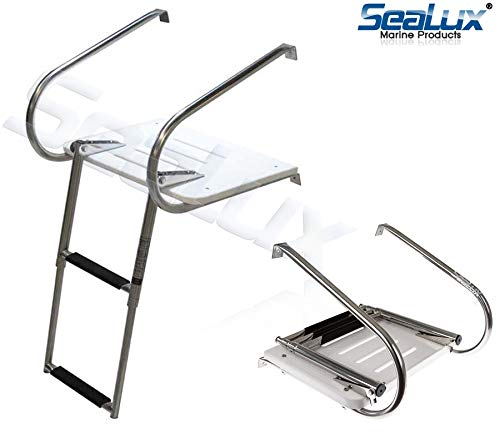 - SeaLux Marine Fiberglass Swim Platform with Over TOP Mount 2-Step Ladder and 2 handrails for inboard Motor