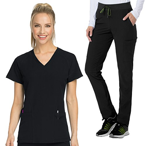 Med Couture Air Womens Spirit V Neck Solid Top   Oxygen Knit Waistband Pant Scrub Set Scrub Set