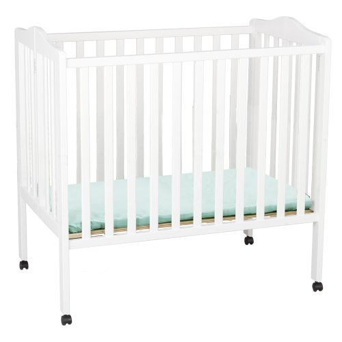 Delta Children Folding Portable Mini Baby Crib with Mattress, White (Best Bassinet For Small Spaces)
