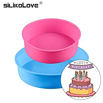 Buy KITCHY Bakeware Set For Birthday Party Cake Maker Silicone Molds Baking Pan Round 2pcs DIY Mousse Two Layers Online At Low Prices