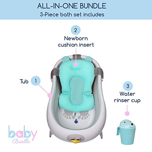 Baby Brielle 3-in-1 Portable Collapsible Infant to Toddler Space Saver Foldable Bath tubs - Anti Slip Skid Proof - with Cushion Insert & Water Rinser for Bathing Newborns by Baby Brielle (Image #3)