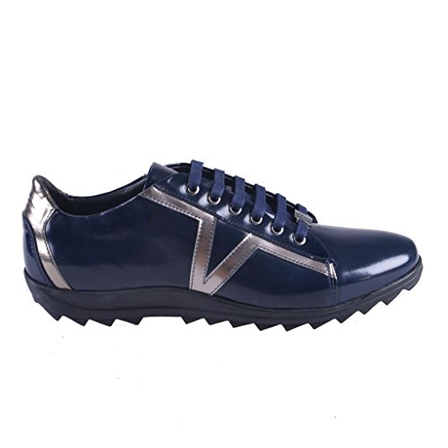 Versace Collection Men's Blue Leather Fashion Sneakers Shoes US 10 IT 43