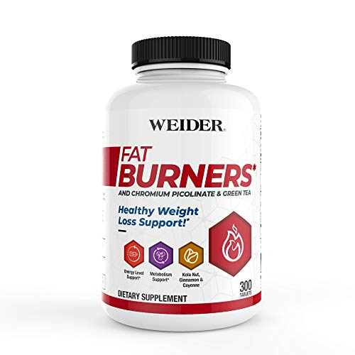(New Packaging) Weider FAT BURNERS, Healthy Weight Loss & Energy Support with Chromium Picolinate, Green Tea Extract, Kola Nut, Cayenne & Cinnamon Powder, 2 MONTH SUPPLY
