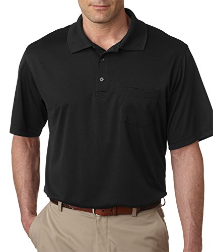 UltraClub Mens Cool & Dry Sport Polo with Pocket (8405P)-Black,X-Large