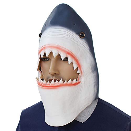 Novelty Halloween Costume Party Shark Latex Animal Head Mask Dress Up ()