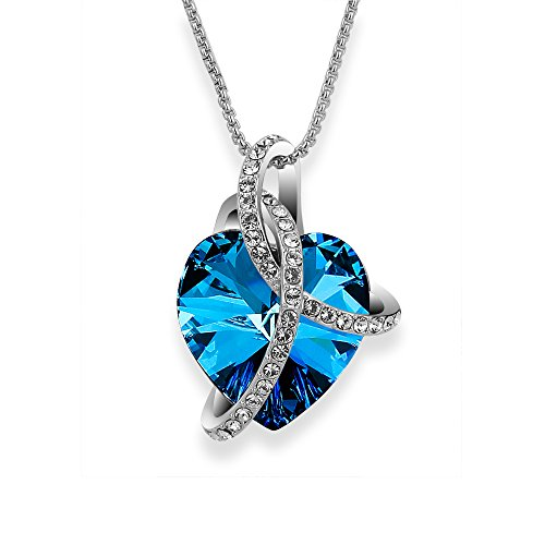 SIVERY Love Heart Fashion Pendant Necklace, Made with Swarovski Crystals, Fashion Jewelry for Women