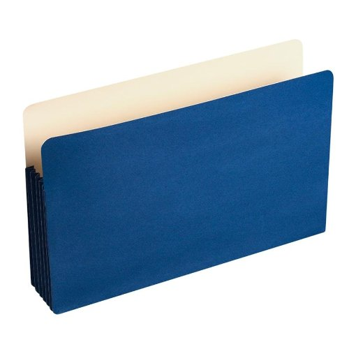 Wilson Jones ColorLife 5 1/4 Inch Expansion Pockets Straight Tab, Legal, Dark Blue, 10/Box (WCC76BL) by Wilson Jones