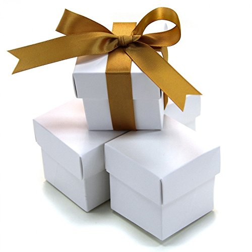 Boxes Piece 2 Favor - Koyal Wholesale 2-Piece 10-Pack Square Favor Boxes, White
