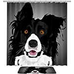 Watercolor Border Collie Shower Curtain Set Fabric Anti-Mildew and Waterproof with 12 Hooks Bathroom Decorative Machine Washable 72x72in/19.6x31.4in 6