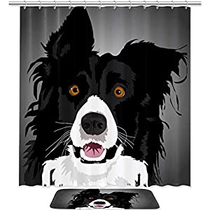 Watercolor Border Collie Shower Curtain Set Fabric Anti-Mildew and Waterproof with 12 Hooks Bathroom Decorative Machine Washable 72x72in/19.6x31.4in 1