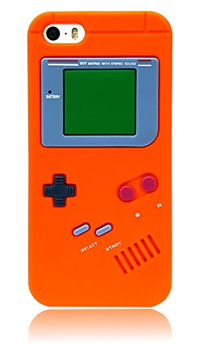 For iPhone 5 5S SE Cartoon Gameboy 3D Case, Soft Silicone Protective Case Cover For iPhone 5/5S/SE - 5c Case Orange Protective Iphone