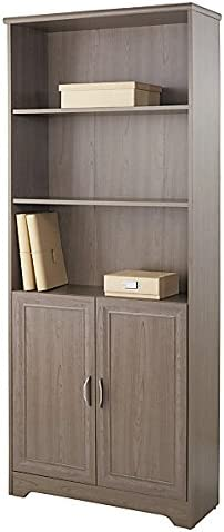Realspace Magellan Collection 5-Shelf Bookcase With Doors, Gray Item 572831
