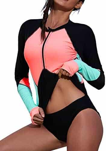 e5e985eeff Aleumdr Womens Zip Front Long Sleeve Rashguard Shirt Color Block Print  Tankini Swimsuit No Bottom