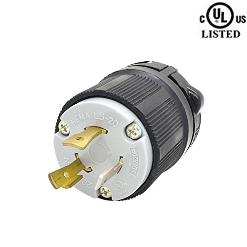 YuaDon 125v, 20a, 2 Pole,3 Wire,NEMA L5-20,Twist Lock Plug Adapter,Grounding,Industrial Grade -