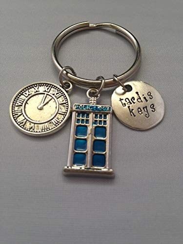 Tardis Keys, Dr. Who Inspired Handstamped Key Chain Police Box Keyring Key chain, The -