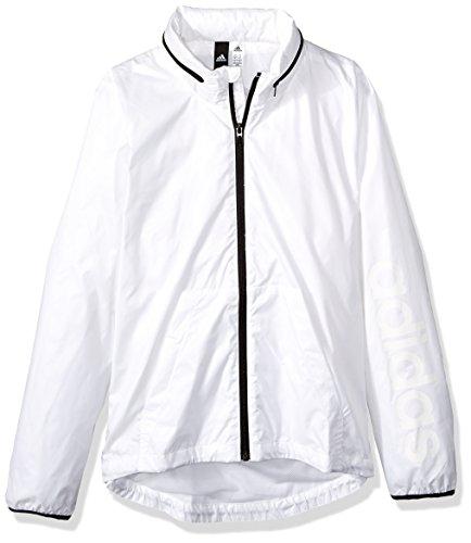 adidas Women's Linear Windbreaker Jacket, White, Large by adidas (Image #1)