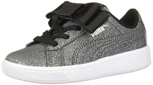 PUMA Girls' Vikky V2 Ribbon Slip ON Sneaker, Black Silver White, 6 M US Toddler