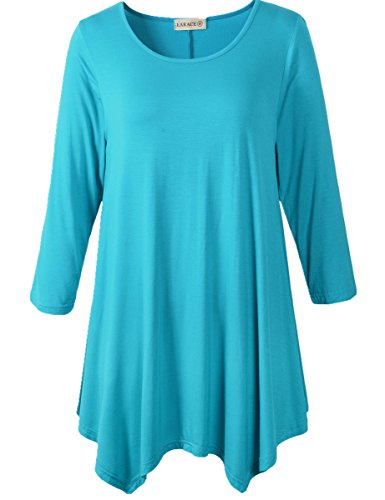 cc30206ffef Lanmo Women Plus Size 3 4 Sleeve Tunic Tops Loose Basic Shirt (1X