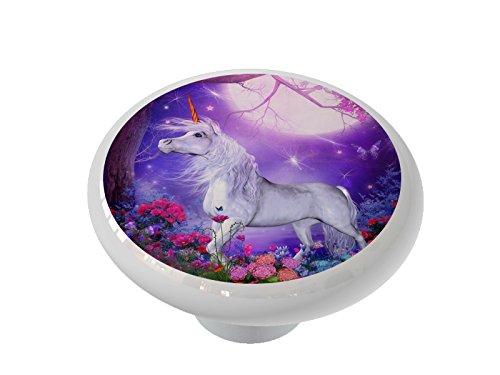Moonlit Unicorn Garden Ceramic Drawer - Garden Drawer Knob