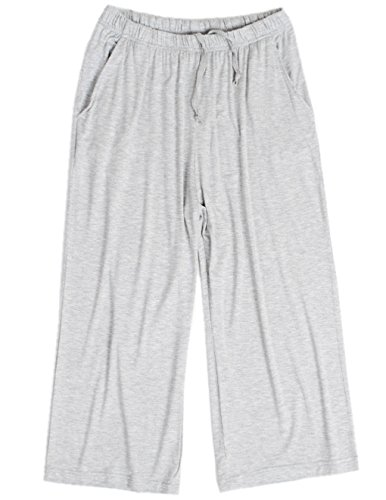 Spandex Sleep Pant (HONG HUI Women Pajama Capri Pants Soft Sleep Lounge Pants with Pockets Sleepwear)