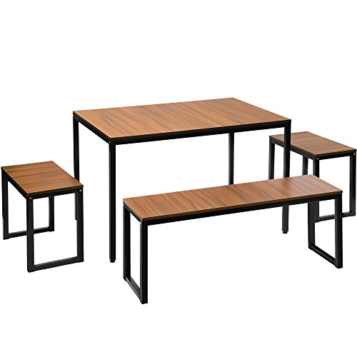 Care 4 Home LLC 4 Piece Dining Set, Large Rectangular Table 2 Stool 1 Bench, Durable Metal Base, Contemporary Design, Perfect Dining Room, Kitchen, Walnut Color + Expert Guide