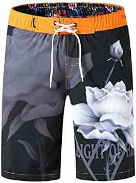 6772dc75c0 Men's Swim Trunks,Men Swimwear Swimsuits Flower Print Surf Board Boxer Shorts  Trunks Long