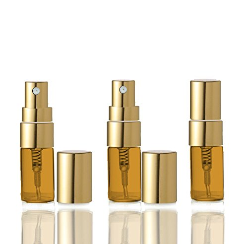 Chintz Gold (Grand Parfums MINI AMBER Glass Spray Bottles, Empty 2ml Fine Mist Atomizer Bottles with Gold or Silver Caps Refillable Perfume Cologne Decant Spray Bottles (5 Atomizers))