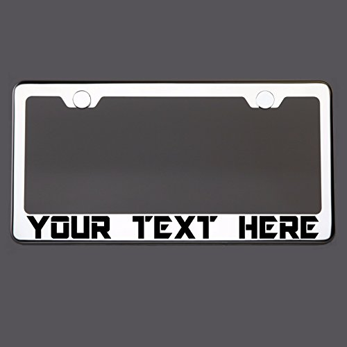 Circle Cool Customized Personalized Laser Engraved Etched Black Lettering T304 Stainless Steel License Plate Frame Holder Front Or Rear Bracket with Aluminum Screw ()