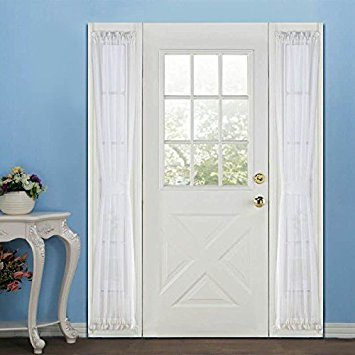 RHF Voile French Door Curtains - Sidelight 30W by 72L Set of 2 -White (Window Curtains Door Side Panel)