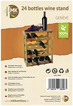 Mobile porta bottiglie cantinetta vino in legno naturale bamboo 24 posti enoteca 47x26x94 cm