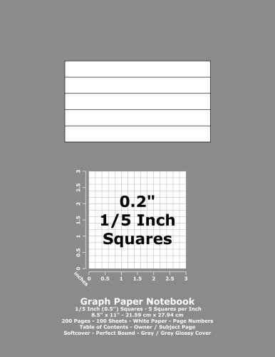"Books : Graph Paper Notebook: 0.2 Inch (1/5"") Squares - 8.5"" x 11"" - 21.59 cm x 27.94 cm - 200 Pages - 100 Sheets - White Paper - Page Numbers - Table of Contents - Gray / Grey Glossy Cover"