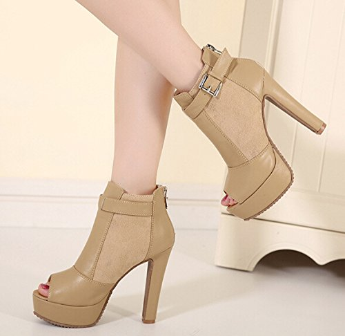 Buckle apricot Chunky Bootie Leather Heel Ankle Faux Women's UnqSIxzRpp