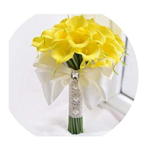 Wedding Bouquet Real Touch Yellow Calla Lily Wand for Bridesmaid Flower Girl Keepsake Flower Wand Wedding Bouquet Bridal S53 24