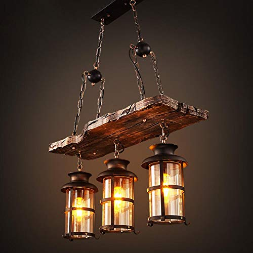 Joypeach 3 Heads Industrial Loft Style Countryside Vintage Wooden Chandelier Lamp For Living Room Dining Room Pendant Lamp 110v