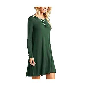 HANTE Women Casual Loose Dresses New Solid Long Sleeve O Neck Autumn Spring T Shirt Mini Dress