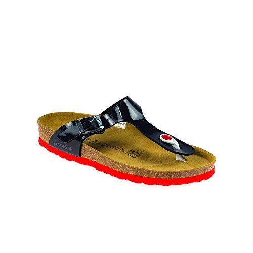 competitive price b3fb5 427e9 Backsun Damen Sandale Leder Blau Rot