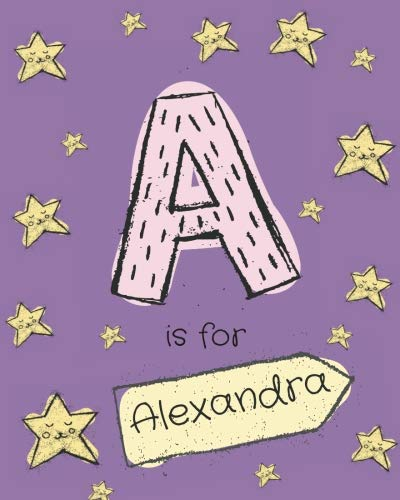 A is for Alexandra: Girls journal notebook with cartoon night stars theme and Letter A initial monogram. Great personalized  girl's birthday gift.