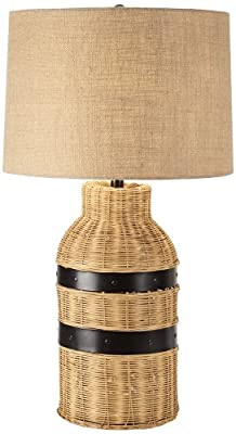 Tybee Bronze And Wicker Industrial Table Lamp