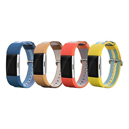 DGdolph per Fitbit Charge2 Bracciale Cinturino in Nylon Cinturino in Tela Intrecciata Colore Giallo