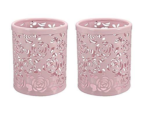 CTKcom 2-pack Hollow Rose Flower Pattern Metal Pen Pencil Pot Cup Holder Desk Container Organizer,2 pieces,Pink ()