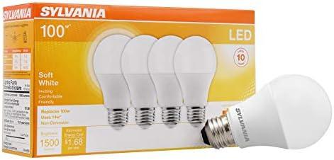 LEDVANCE 78101 Sylvania Non-Dimmable Led Light Bulb, 14 W, 120 V, 1500 Lumens, 2700 K, Cri 80, 2.375 In Dia X 4.29 In L, Soft White, 4 Count