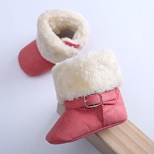 Hunpta Niedliche Baby neugeborenes Baby erste Walker Kleinkind Wohnungen Boot Schuhe aus Baumwolle (Alter: 6-8 Monate, Hot Pink) Watermelon Red