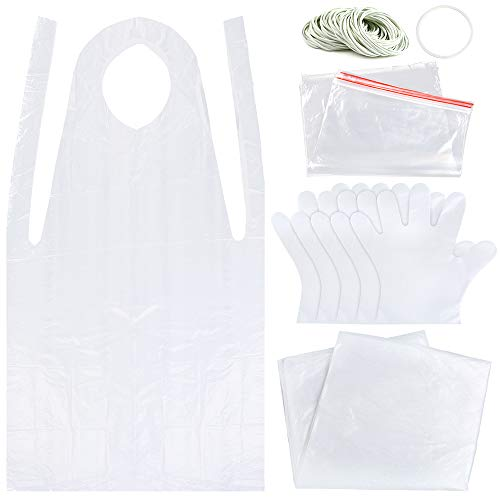 (Sntieecr Tie Dye DIY Kit, Including Rubber Bands, Plastic Gloves, Sealed Bags, Disposable Aprons and Protective Plastic Sheet, Easy to Dye Shirts and Fabrics for Tie-Dye Project)