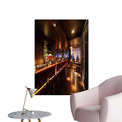 SeptSonne Wall Stickers for Living Room bar Counter Chairs in Empty Comfortable restaur t at Night Vinyl Wall Stickers Print,20