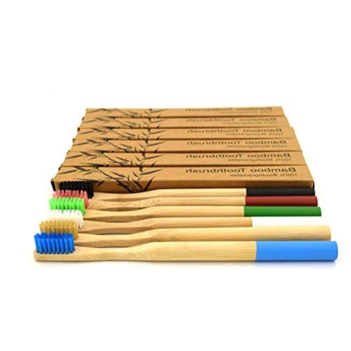 Healifty Set de Cepillos de Dientes de Bambú Suave Redondas para Blanquear los Dientes para Adultos Niños 6 Piezas
