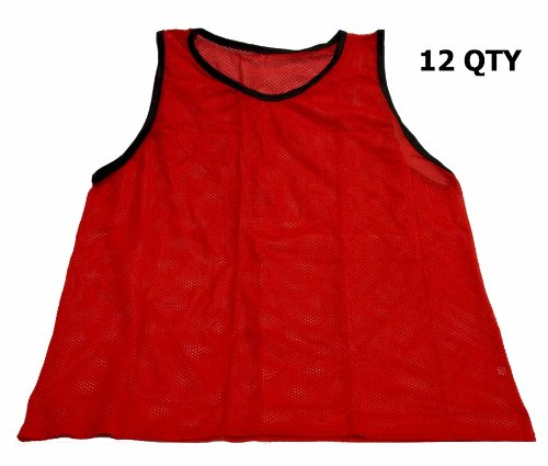 Workoutz Adult Red Soccer Pinnies  Scrimmage Vests Mesh Trai