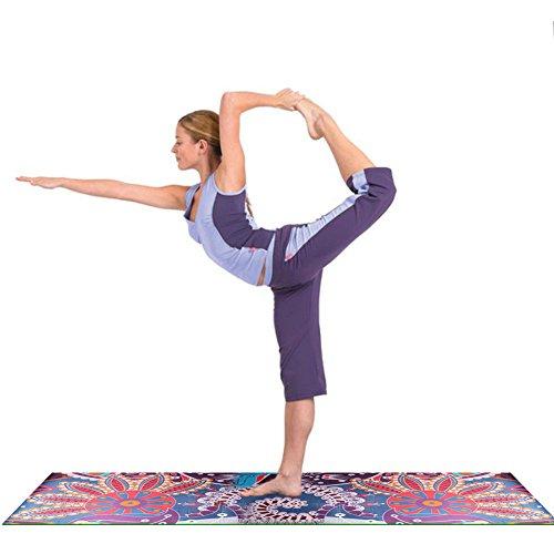 183x63cm Suede Yoga Mat Anti-Tear Non-Slip Cushion Tibet Style Printing Strap